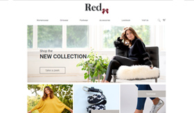 red knitwear eCommerce website